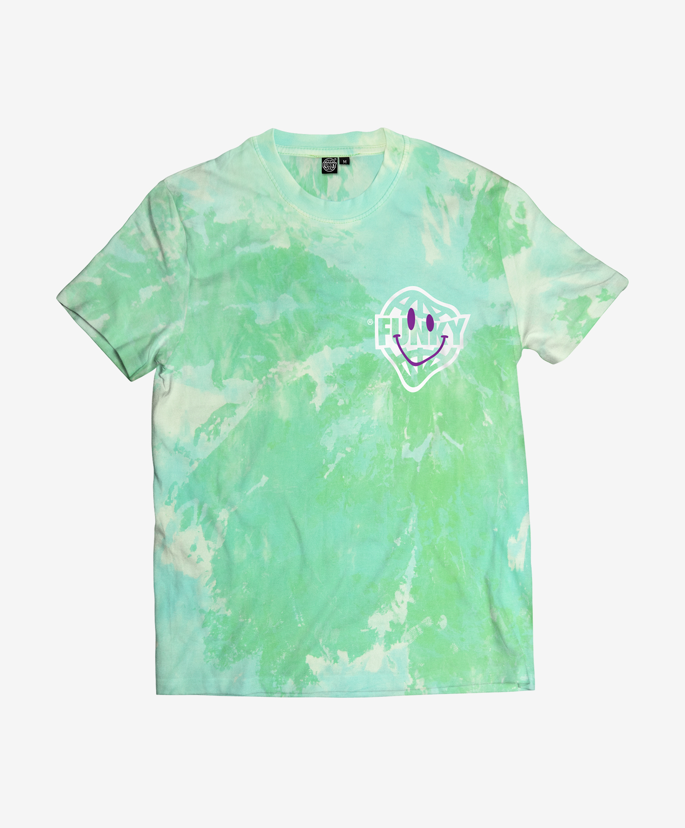 acid logo tee green front
