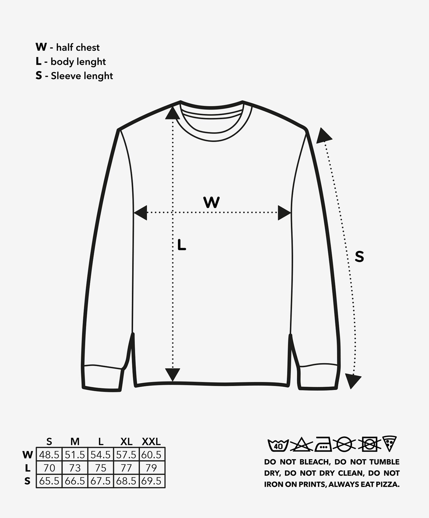 size-long sleeve tee