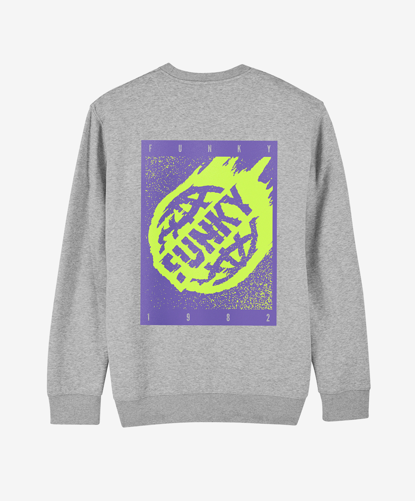 funky asteroid crewneck grey back