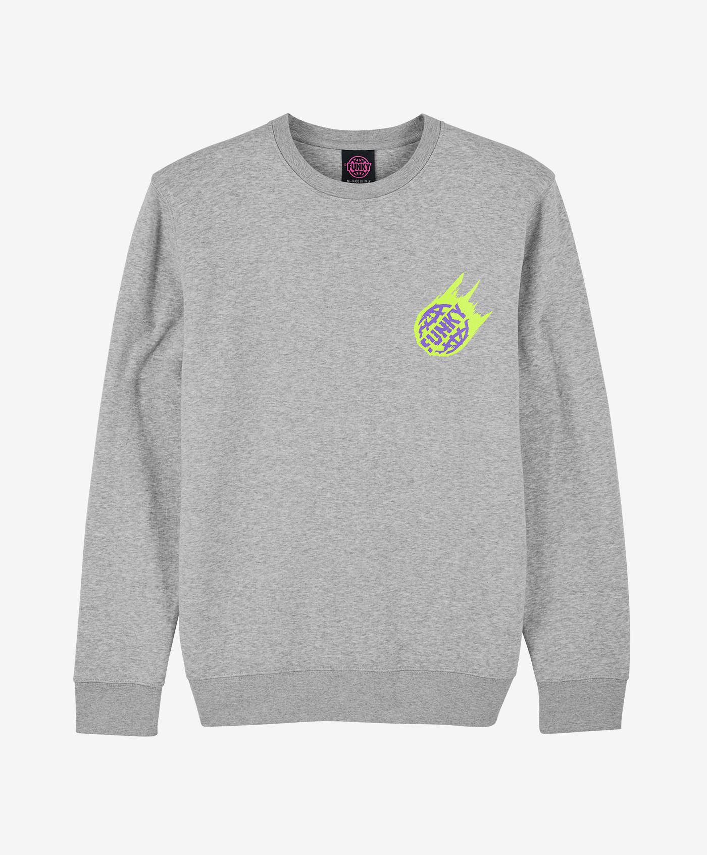 funky asteroid crewneck grey front