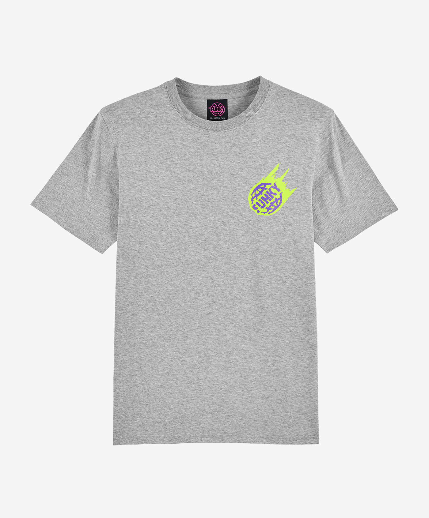 funky asteroid tee grey front