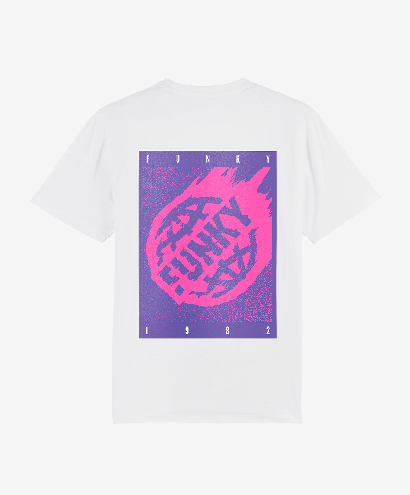 funky asteroid tee white back