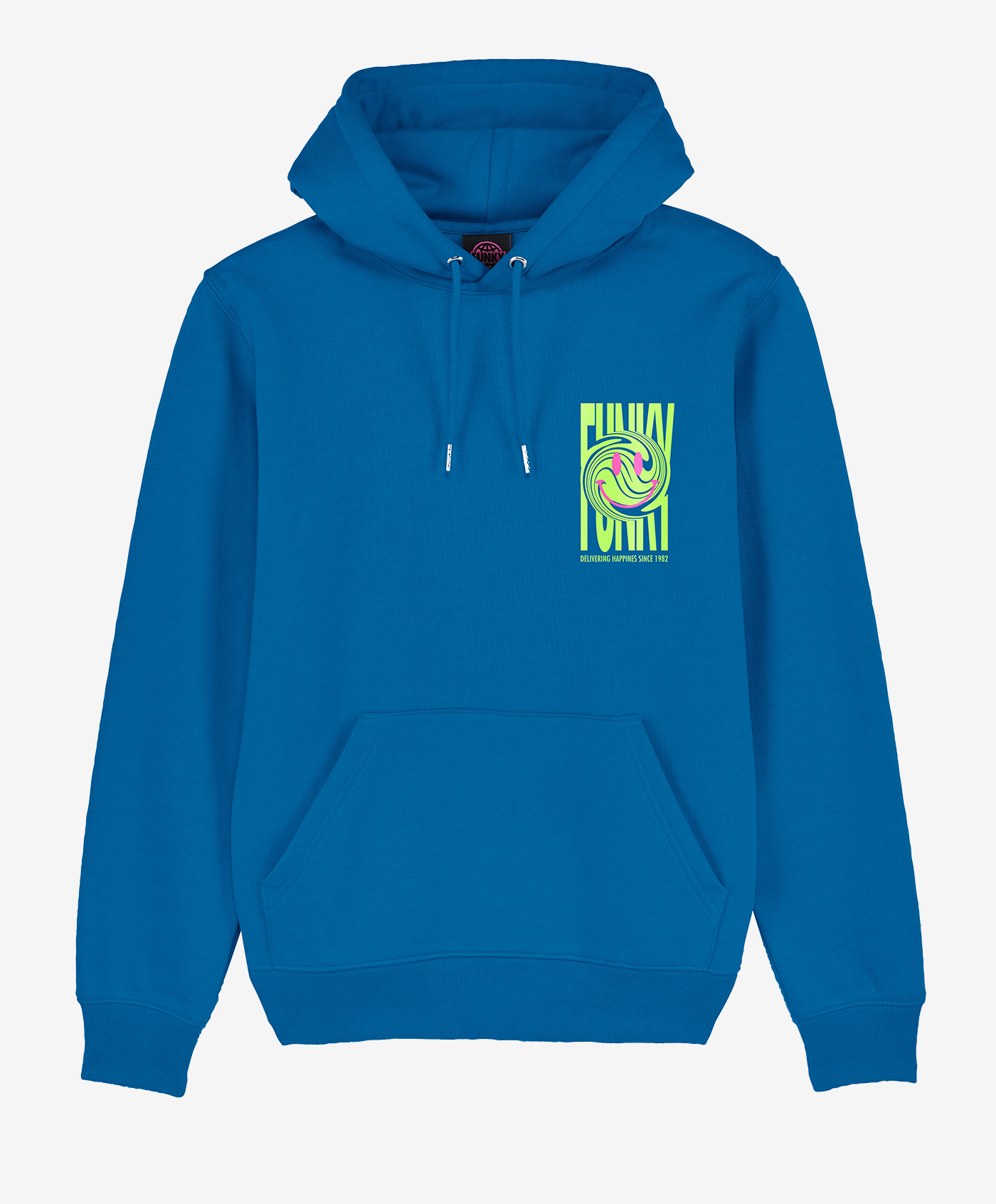 funky happy hoodie electric blu front