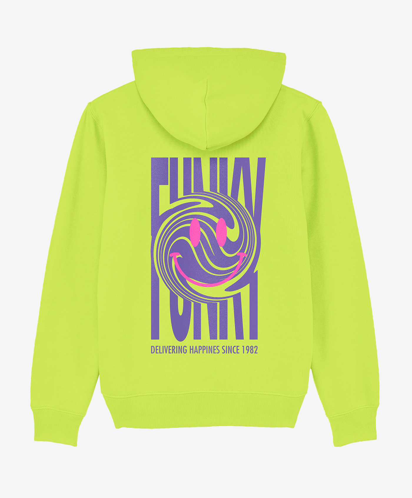 funky happy hoodie lime back