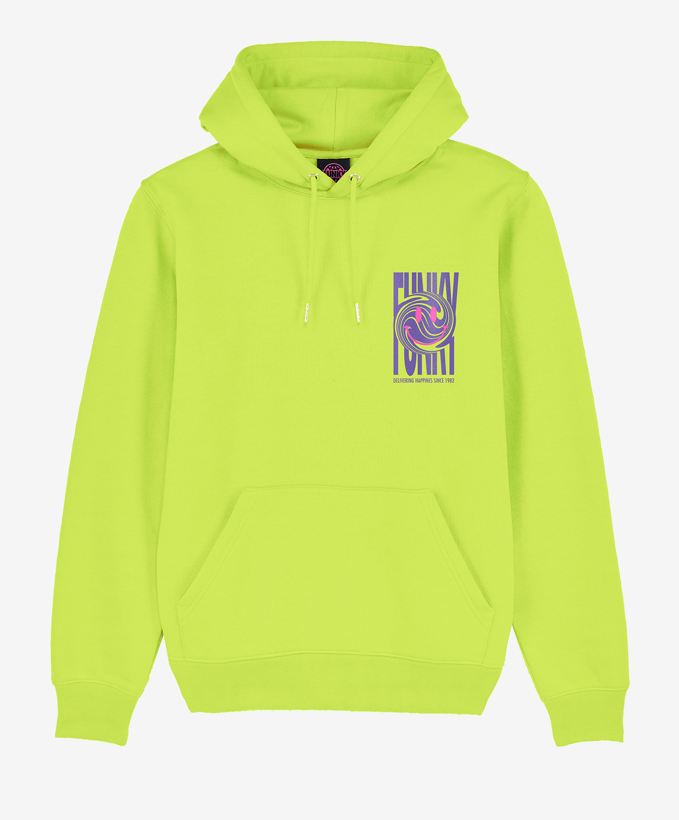 funky happy hoodie lime front