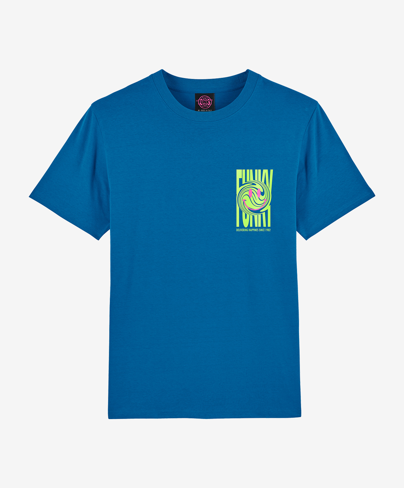 funky happy tee electric blu front