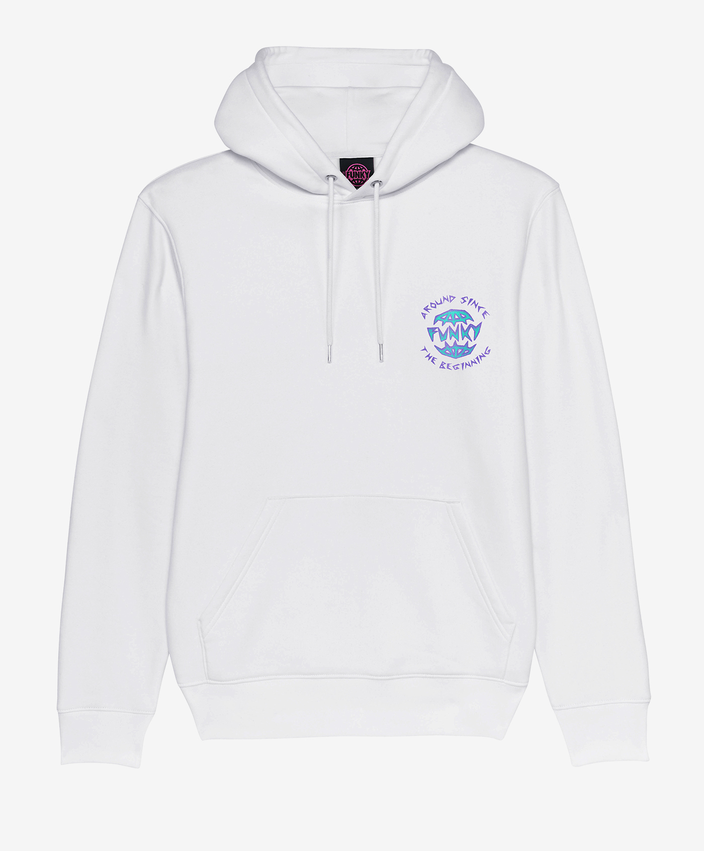 funky rock hoodie white front
