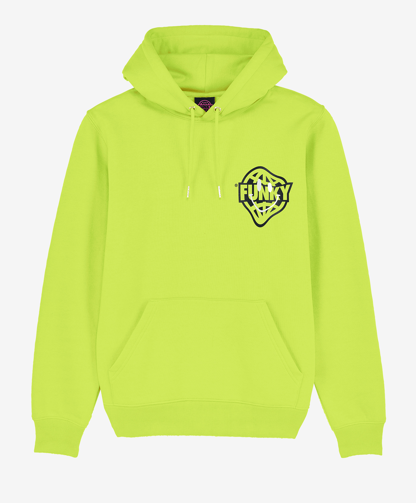 funky smile hoodie lime front