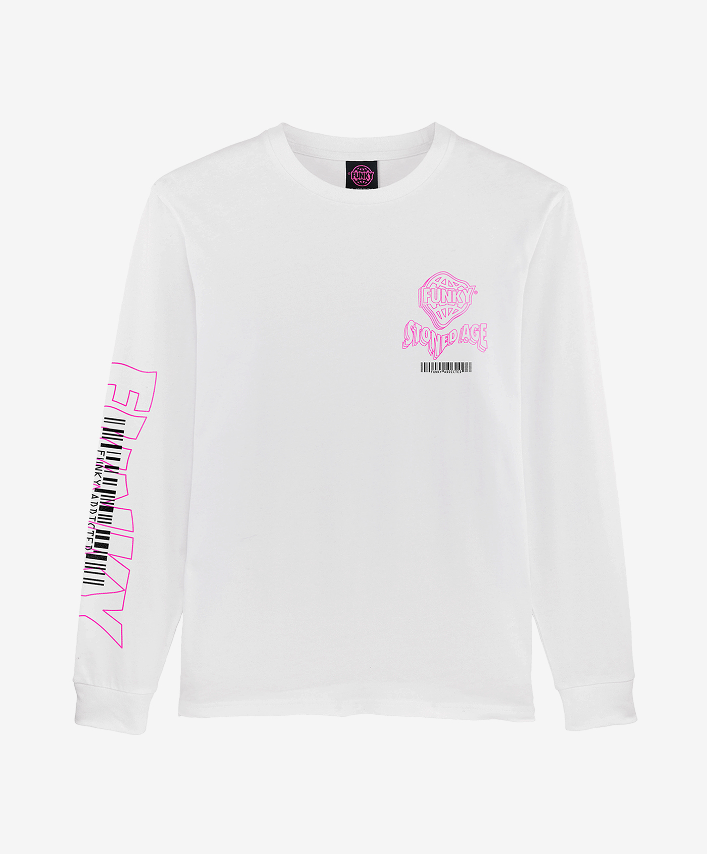 funky stoned age long sleeve tee white front