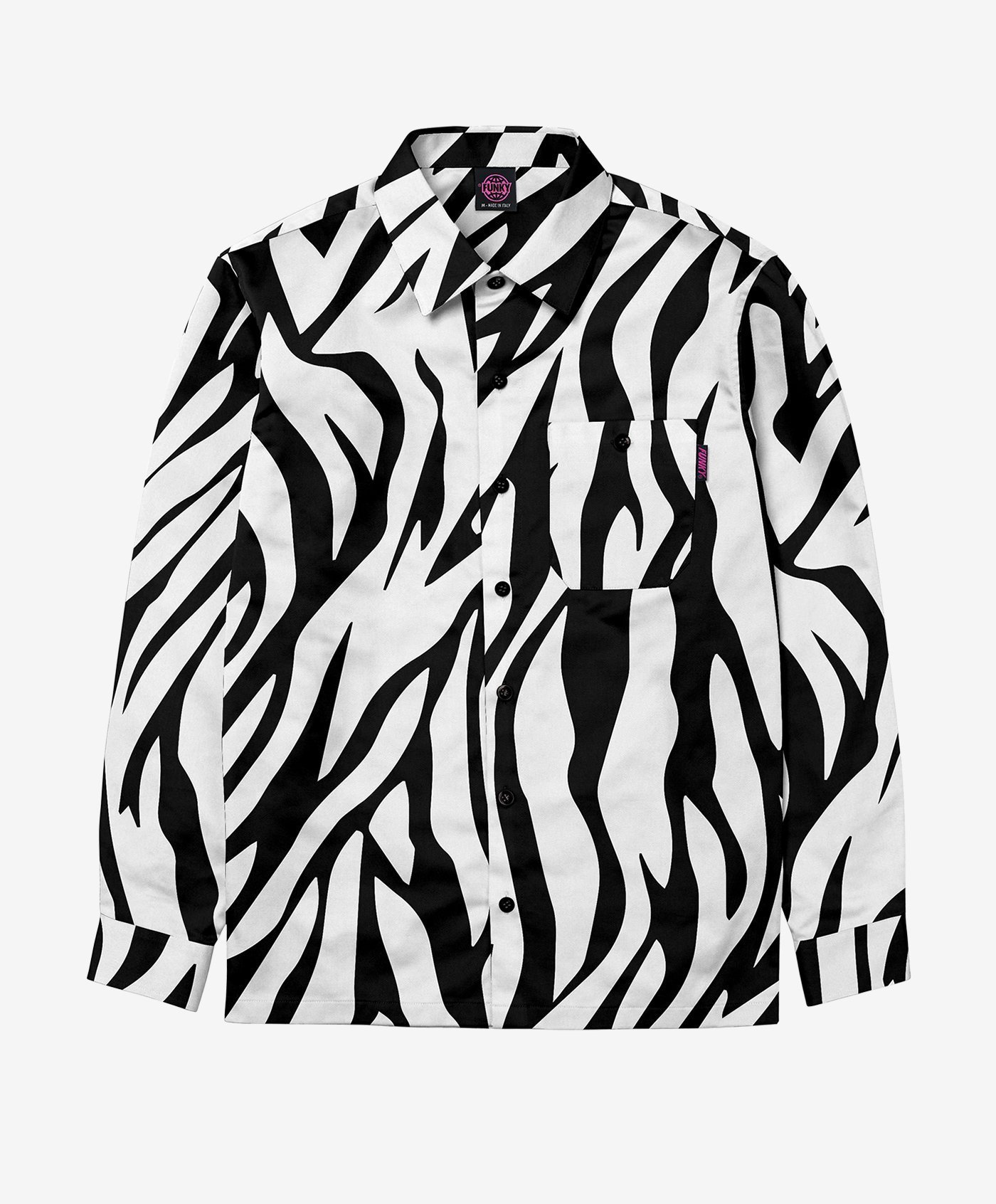 funky safari shirt black white