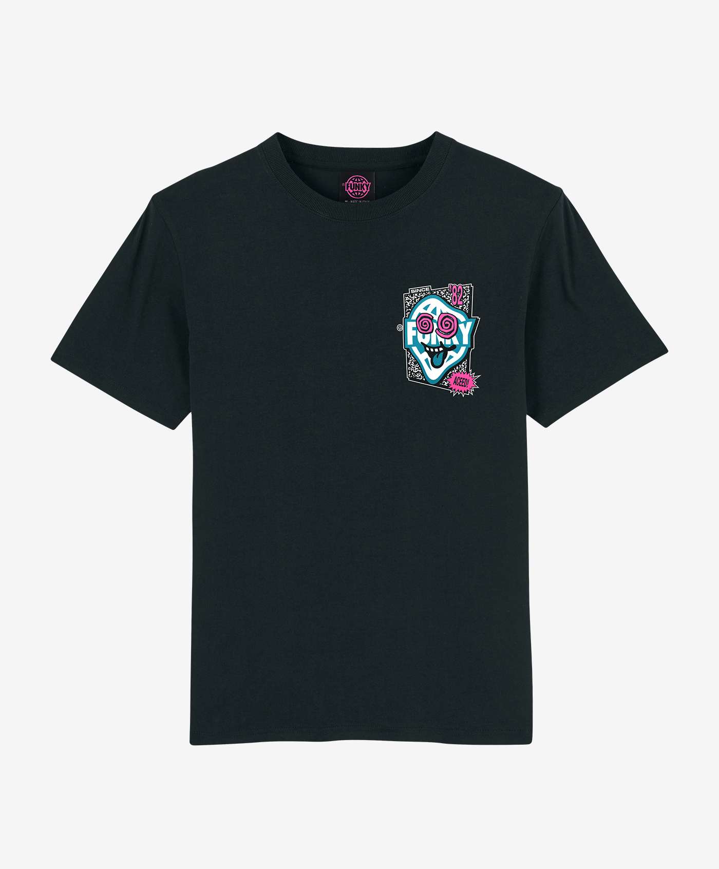 funky aceed tee black front