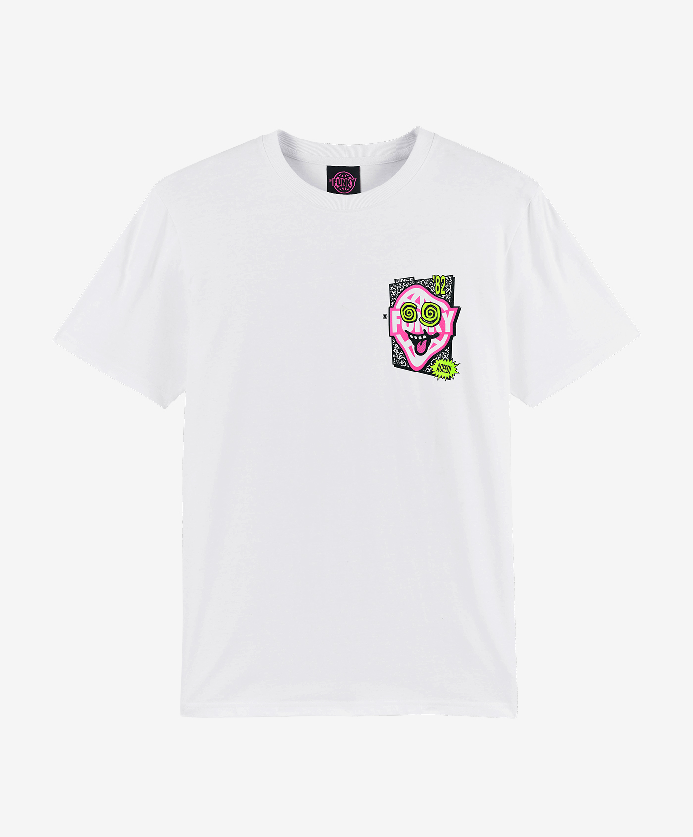 funky aceed tee white front