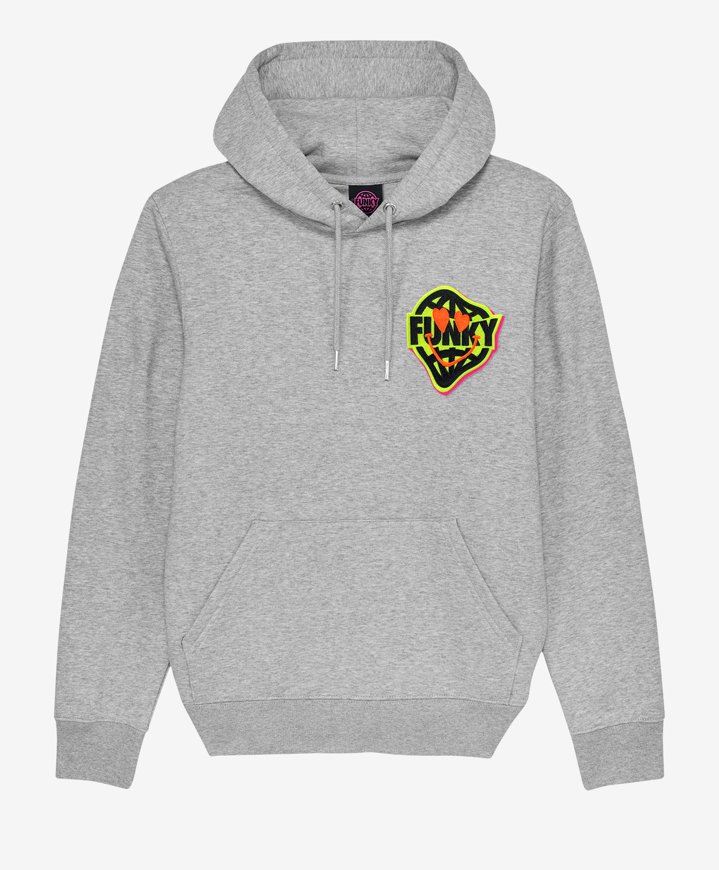 funky smile patch hoodie love