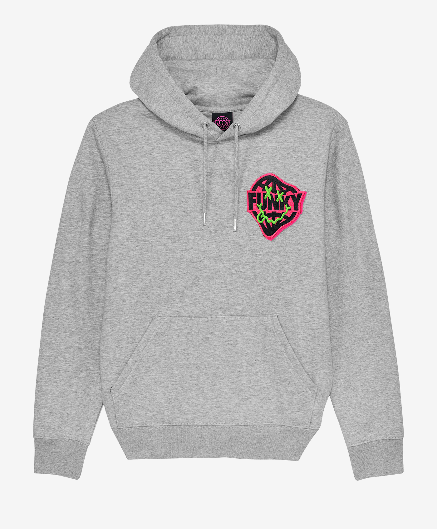 funky smile patch hoodie wasted