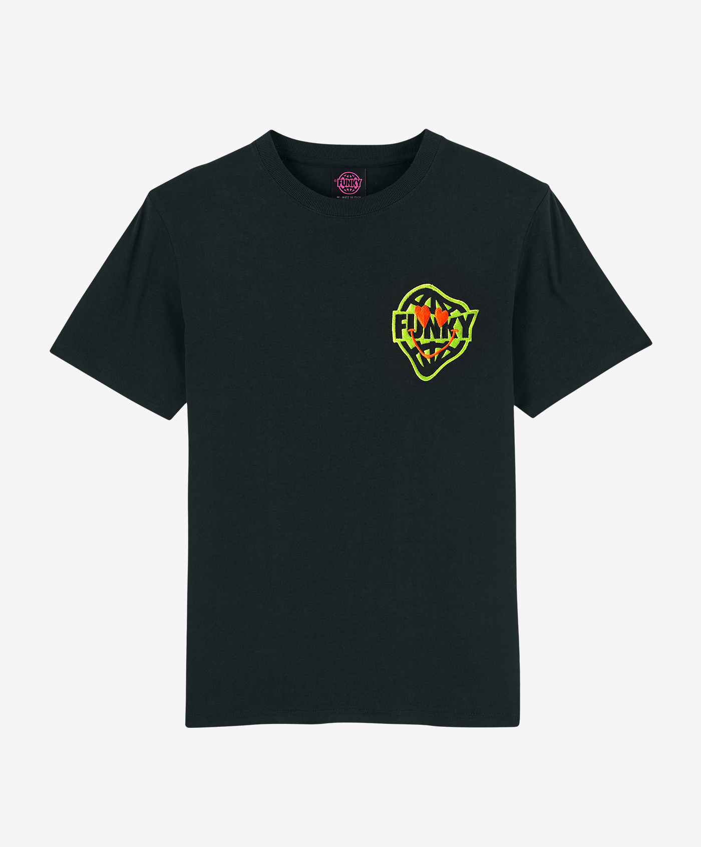funky smile patch tee black