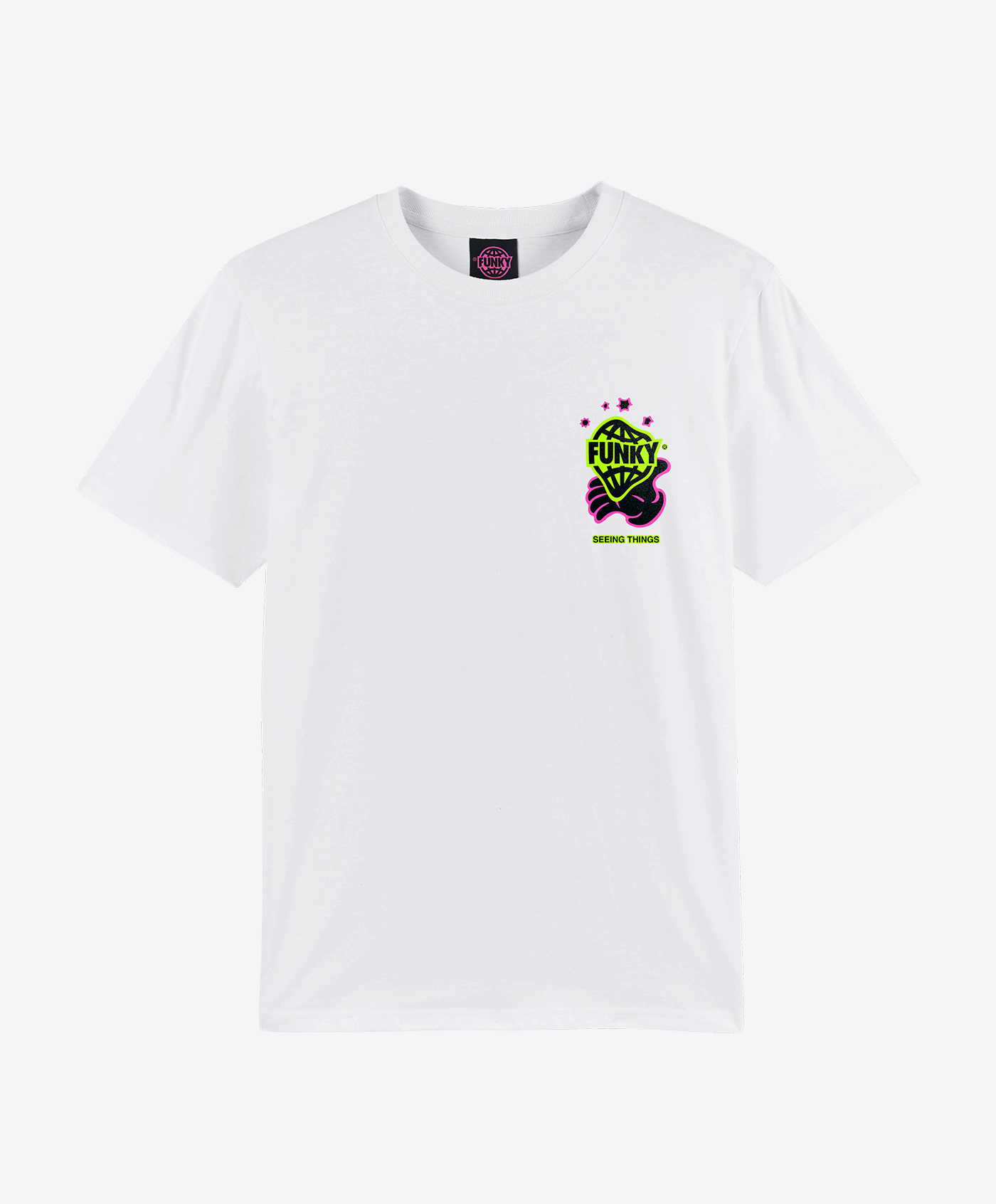 funky trip white tee front