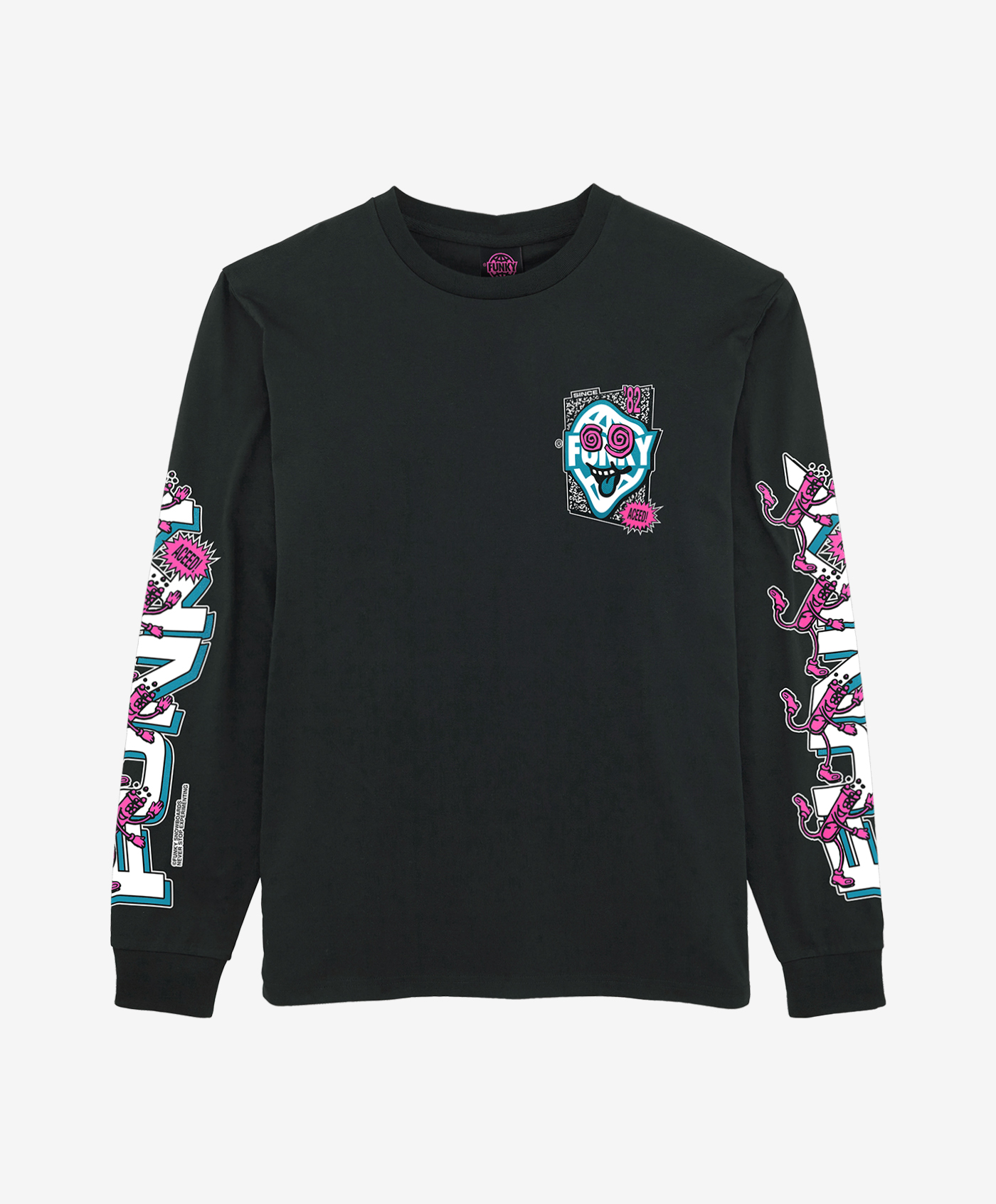 funky aceed long sleeve black front
