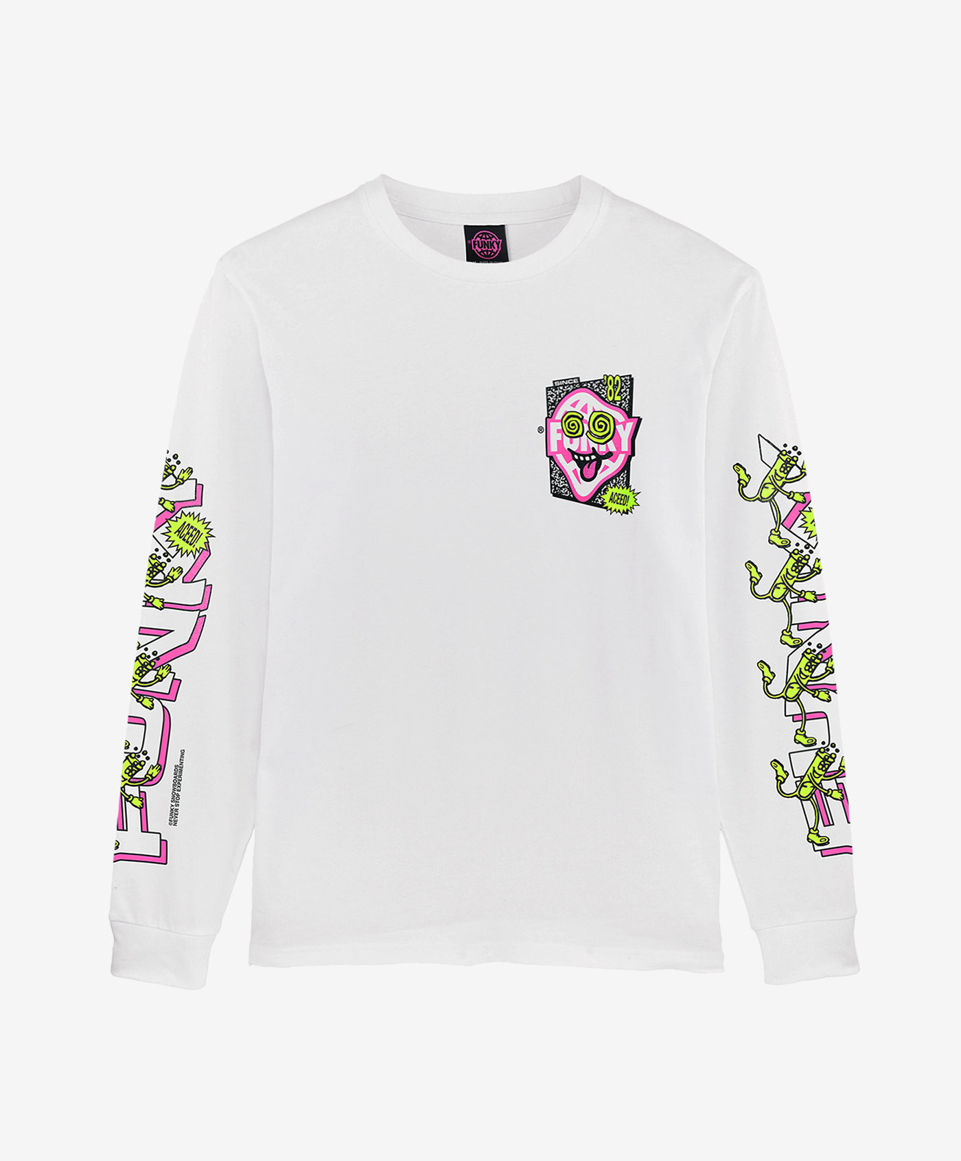 funky aceed long sleeve white front
