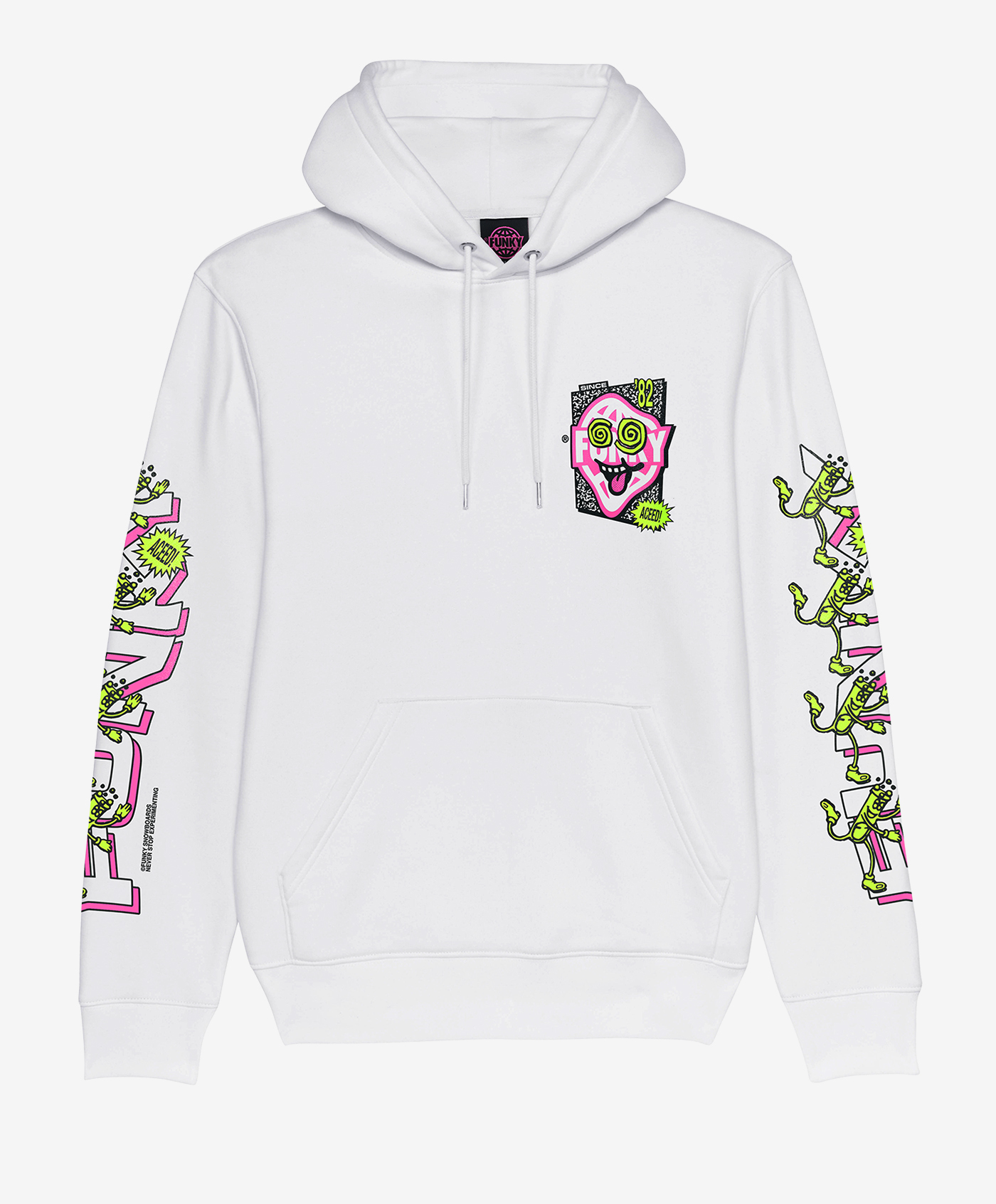 funky aceed hoodie white front