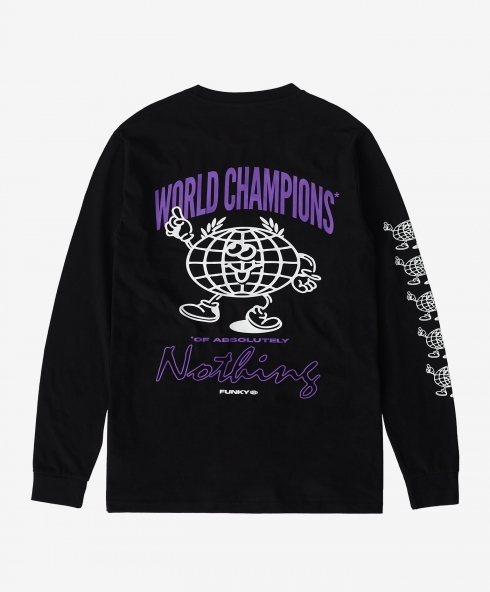 Funky world champions long sleeve tee black, 100% organic cotton, spun and combed, classic fit, 200 gsm. available in sizes S,M,L,XL, discover it on our website!