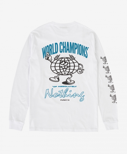 Funky world champions long sleeve tee white, 100% organic cotton, spun and combed, classic fit, 200 gsm. available in sizes S,M,L,XL, discover it on our website!