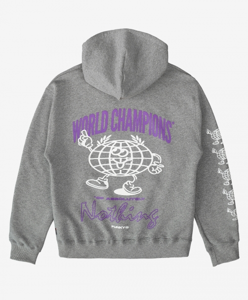 Funky world champions hoodie grey, 100% organic cotton 220 gsm, available in sizes S,M,L,XL,XXL discover it on our website!