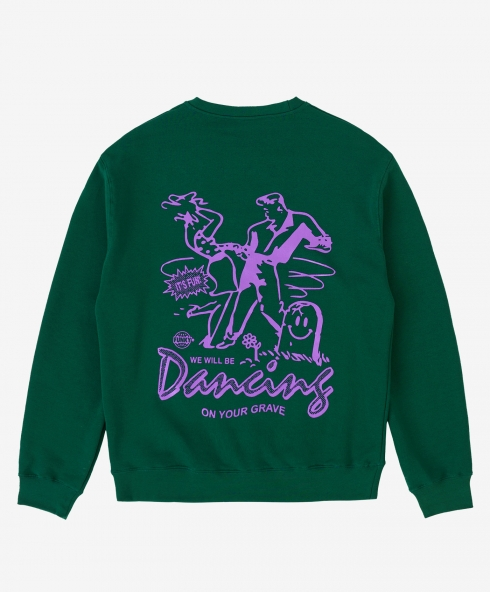 Funky grave crewneck petrol, 100% spun and combed organic cotton 220 gsm, available in sizes S,M,L,XL,XXL discover it on our website!