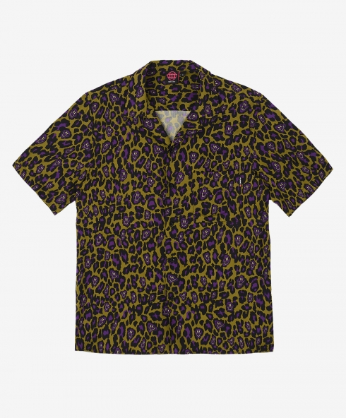 Funky leopard shirt khaki made in Italy in printed fabric 100% viscose hand cotton, 180 gsm available in sizes S,M,L,XL, discover it on our website!