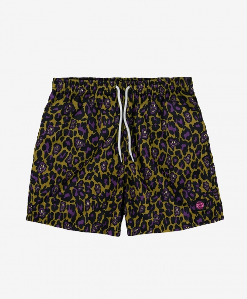 Funky leopard swim short khaki with printed fabric, upper fabric 100% nylon, Inner lining 100% polyester, available in sizes S,M,L,XL, discover it on our website!