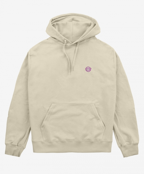 Funky basic embroidered hoodie sand, embroidered logo, 100% spun and combed organic cotton 220 gsm, available in sizes S,M,L,XL,XXL discover it on our website!