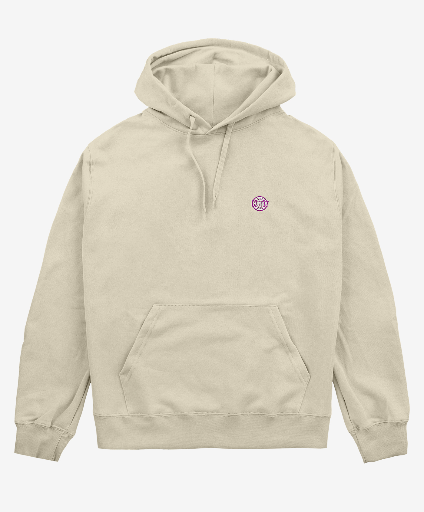 Funky basic embroidered  hoodie sand