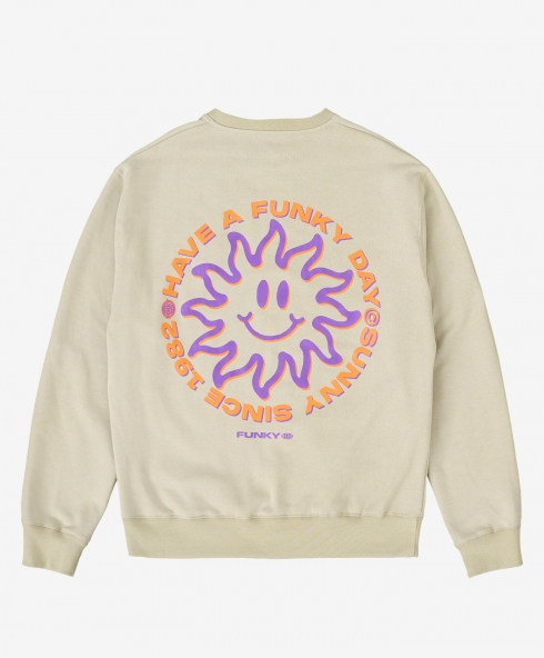 Funky sunny crewneck sand, 100% spun and combed organic cotton 220 gsm, available in sizes S,M,L,XL,XXL discover it on our website!