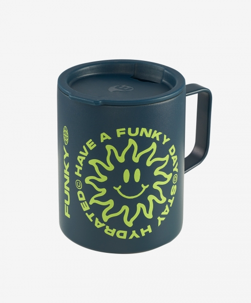 Funky x Mizu Bottles thermal camping cup for hot and cold drinks 400 ml with sip through lid. Height 233 mm; diameter 64 mm; weight 156 gm. discover it on our website!
