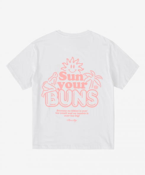 Funky x Reina Olga buns tee white, Plain jersey 100% spun and combed organic cotton 180 gsm, available in sizes S,M,L,XL,XXL discover it on our website!