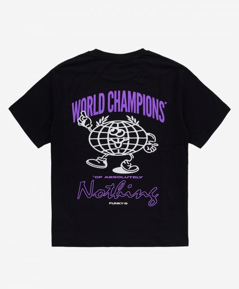 Funky world champions tee black, Plain jersey 100% spun and combed organic cotton 180 gsm, available in sizes S,M,L,XL,XXL discover it on our website!