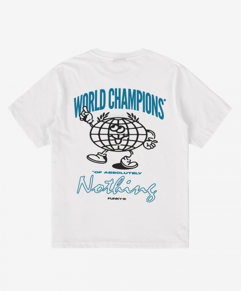 Funky world champion tee white, Plain jersey 100% spun and combed organic cotton 180 gsm, available in sizes S,M,L,XL,XXL discover it on our website!