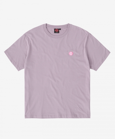 funky logo embroidered tee liliac, Plain jersey 100% spun and combed organic cotton 180 gsm, available in sizes S,M,L,XL,XXL discover it on our website!