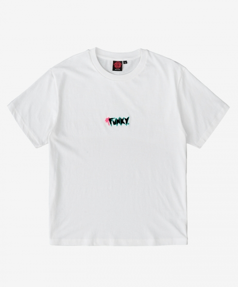 Funky palm tee white, embroidery with sponge stitch, Plain jersey 100% spun and combed organic cotton 180 gsm, available in sizes S,M,L,XL,XXL discover it on our website!
