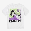 Funky wave tee white, Plain jersey 100% spun and combed organic cotton 180 gsm, available in sizes S,M,L,XL,XXL discover it on our website!