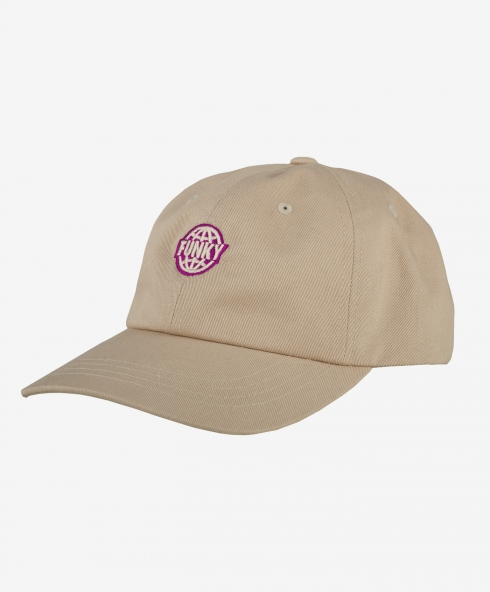 Funky dad cap sand 100% cotton twill, clasp closure discover it on our website!