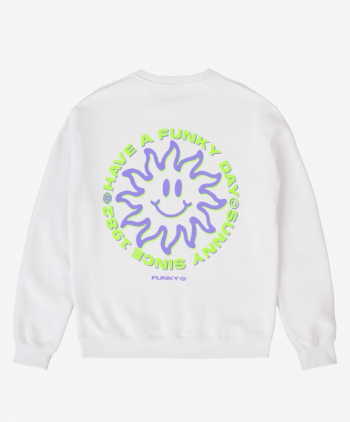Funky sunny crewneck white, 100% spun and combed organic cotton 220 gsm, available in sizes S,M,L,XL,XXL discover it on our website!